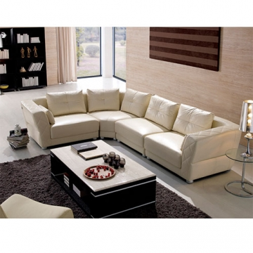 5 SEATER L-SHAPED LEATHER SOFA