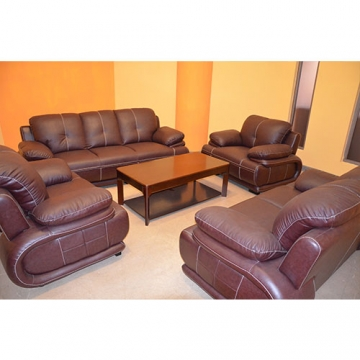 7 SEATER LEATHER SOFA, BROWN