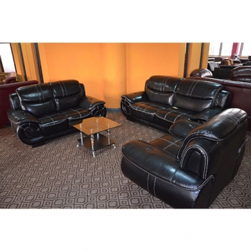 5 seater Leather sofa set-Black