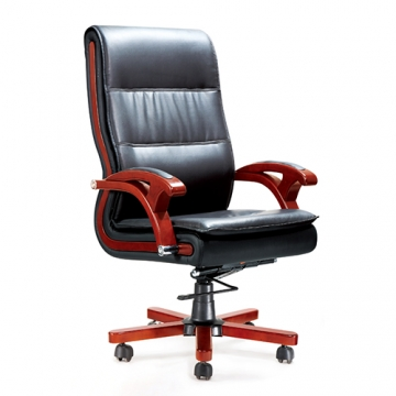 EXECUTIVE HIGH BACK LEATHER OFFICE CHAIR WITH MAHOGANY ARMS AND BASE