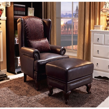 CHESTERFIELD ARM CHAIR WITH OTTOMAN