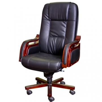 EXECUTIVE LEATHER OFFICE CHAIR WITH WOODEN BASE AND FINISH