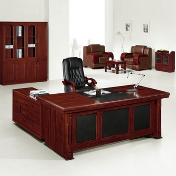6 piece executive suite, wood & traditional leather VD-ES005