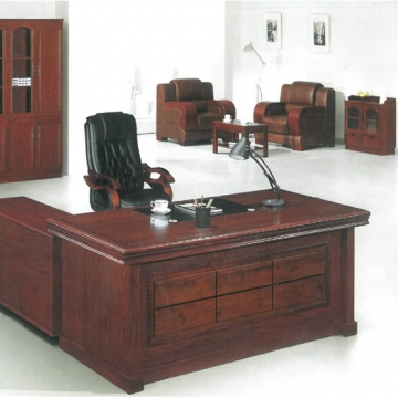 6 piece executive suite, wood & traditional leather VD-ES007