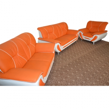 5 SEATER ORANGE AND WHITE LEATHER OFFICE LOUNGE SOFA